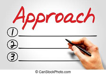 Approach blank list, business concept