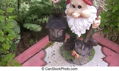 Approach of lamp in hands of the garden dwarf.