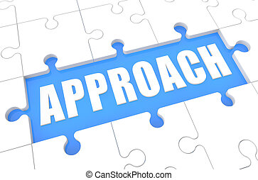 Approach - puzzle 3d render illustration with word on blue background