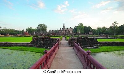 Approaching a Temple Ruin in Sukhothai, Thailand in...