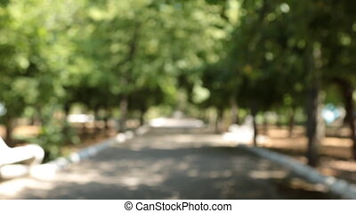 Approaching blurred alley and white benches with the focus...