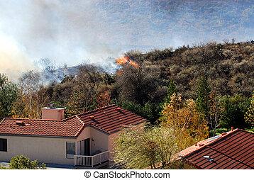 brushfire approaching a home