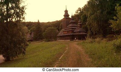 Approaching dark spooky orthodox church. Village church in a...