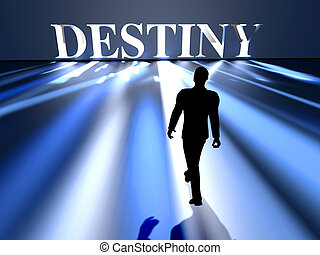 Approaching Destiny - A man marching towards his Destiny. 3D...