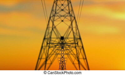 Approaching Electricity Towers at Sunset - An arty 3d...