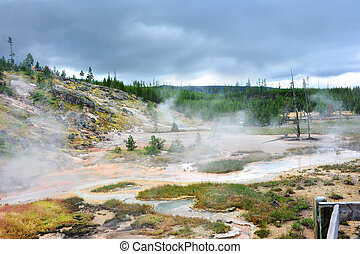 Approaching Storm in Yellowstone - Storm clouds gather over...