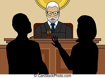 Approaching the Bench - Two lawyers are arguing their cases...
