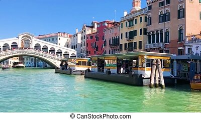 Rialto bridge, Venice, Italy - approaching to the historical...