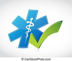 approbation, monde médical, liste, chèque, illustration