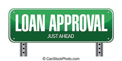 approbation, prêt, route, illustration, signe