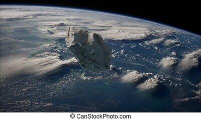 approchant, dangereux, astéroïde, terre planète