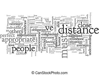 Appropriate Distance text background wordcloud concept