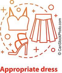 Appropriate dress concept icon. Informal wear idea thin line...