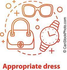 Appropriate dress concept icon. Women's accessories idea ...
