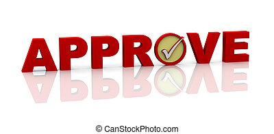 approvare, 3d, parola, segno spunta