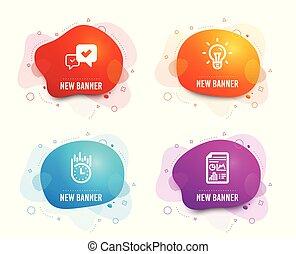 approvare, idea, e, consegna veloce, icons., relazione, documento, segno., accettato, messaggio, lampadina, stopwatch., vettore