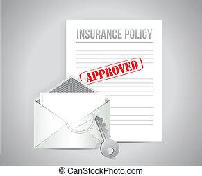 approvato, concetto, polizza assicurazione