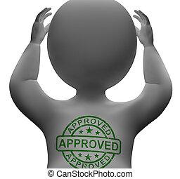 approvato, francobollo, su, uomo, esposizione, qualità, eccellente, prodotti
