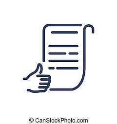 approvato, icona, documento, linea, magro