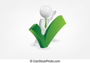 approvazione, persone, segno, vettore, verde, piccolo, 3d