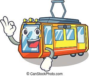 approvazione, treno elettrico, isolato, con, il, cartone...