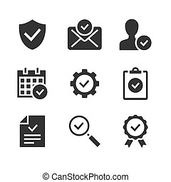 Approve black glyph icons on white background. Protection guarantee, accepted document, calendar check vector illustration.