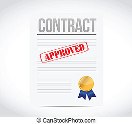 approve contract and ribbon seal illustration