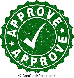 Approve Scratched Stamp with Tick