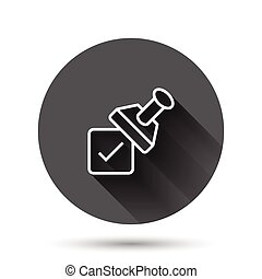 Approve stamp icon in flat style. Accept check mark vector ...