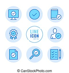 Approve vector line icons set. Quality control, check mark, verification, checkmark outline symbols. Modern simple stroke graphic elements. Round icons