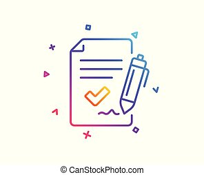 Approved agreement line icon. Sign document symbol. Vector