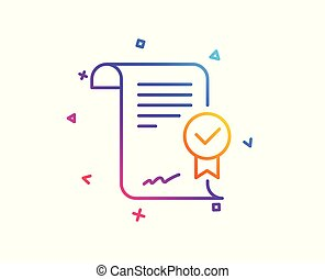 Approved agreement line icon. Verified document sign. Vector