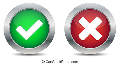 Approved and rejected button - Green button approved and red...