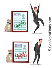 Approved and rejected loan application forms with characters, vector flat illustration