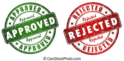 Approved and rejected stamps set isolated on white