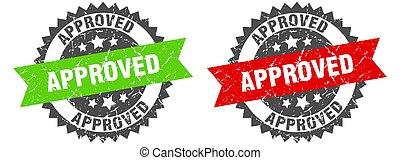 approved band sign. approved grunge stamp set