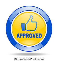 approved blue and yellow web glossy round icon