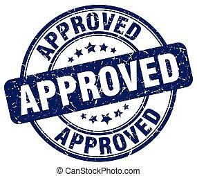 approved blue grunge round vintage rubber stamp
