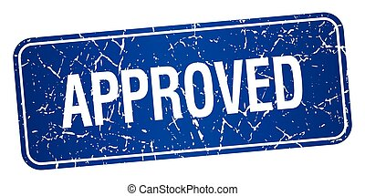 approved blue square grunge textured isolated stamp