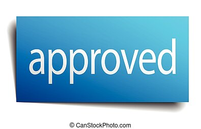 approved blue square isolated paper sign on white