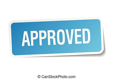 approved blue square sticker isolated on white