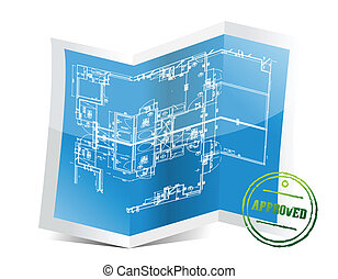 approved blueprint project illustration design over a white ...