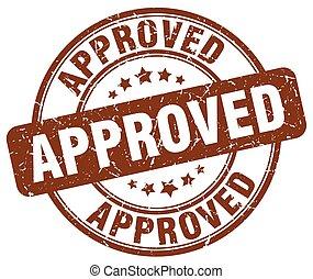 approved brown grunge round vintage rubber stamp