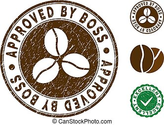 Approved By Boss Stamp with Grungy Style