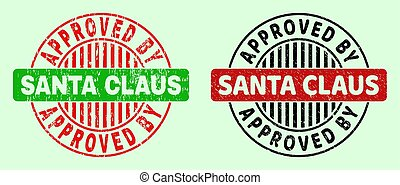 APPROVED BY SANTA CLAUS Rounded Bicolor Stamps - Grunged Surface
