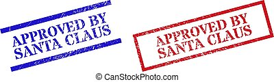 APPROVED BY SANTA CLAUS Textured Scratched Stamp Seals with Rectangle Frame