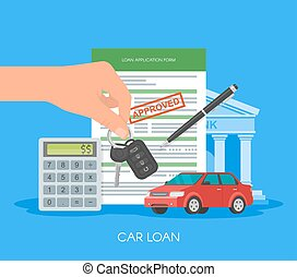Approved car loan vector illustration. Buying automobile concept. Hand holding key