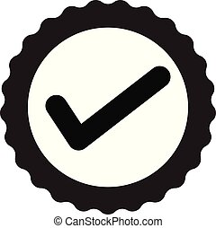 approved certificate icon on white background. flat style. approved icon for your web site design, logo, app, UI. check mark symbol. accepted sign. award seal business sign.