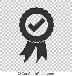Approved certificate medal icon in flat style. Check mark stamp vector illustration on isolated background. Accepted, award seal business concept.