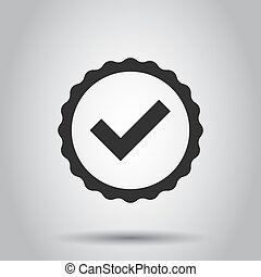 Approved certificate medal icon in flat style. Check mark stamp vector illustration on white background. Accepted, award seal business concept.